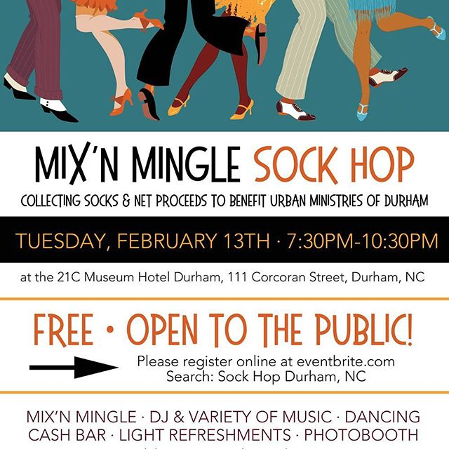 Free event for the Durham, NC community!! Sock Hop Mix'n Mingle to benefit Urban Ministries of Durham at the @21chotels . Dance party, DJ (variety of music!), photo booth and just plain old fun. No cost to attend but we will be collecting brand new pairs of socks and cash donations at the door for Urban Ministries of Durham. Spread a little love and join us! Register to come on eventbrite.com . This free party is sponsored by @wellnessunderground @brianpasson and @carriegraceshop . . #durhamnc #durhambulls #dukecollege #duke #norcal #northcarolina #danceparty #sockhop #community #durhambulls #charity