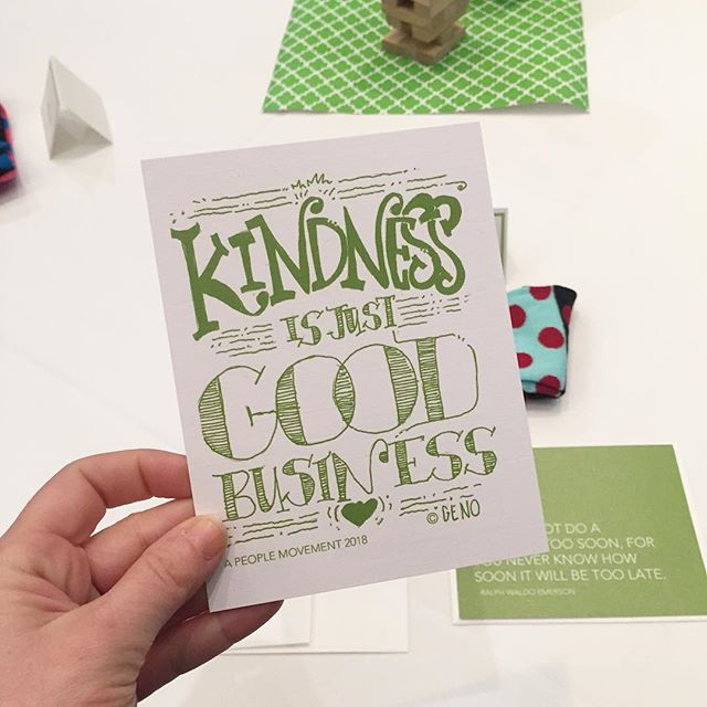 "Nugget for the day: ""Kindness is just good business!"" quote by @jessiepasson artwork by @genochurch . Handed out these cards to all of our attendees at #apeoplemovement2018 today so they could spread some kindness by sending a note. @genochurch did an amazing job doodling this for us! . . #bekind #kindness #kindnessmatters #spreadkindness #workshop #wellness #goodbusiness #corporateoffice #art #artwork"