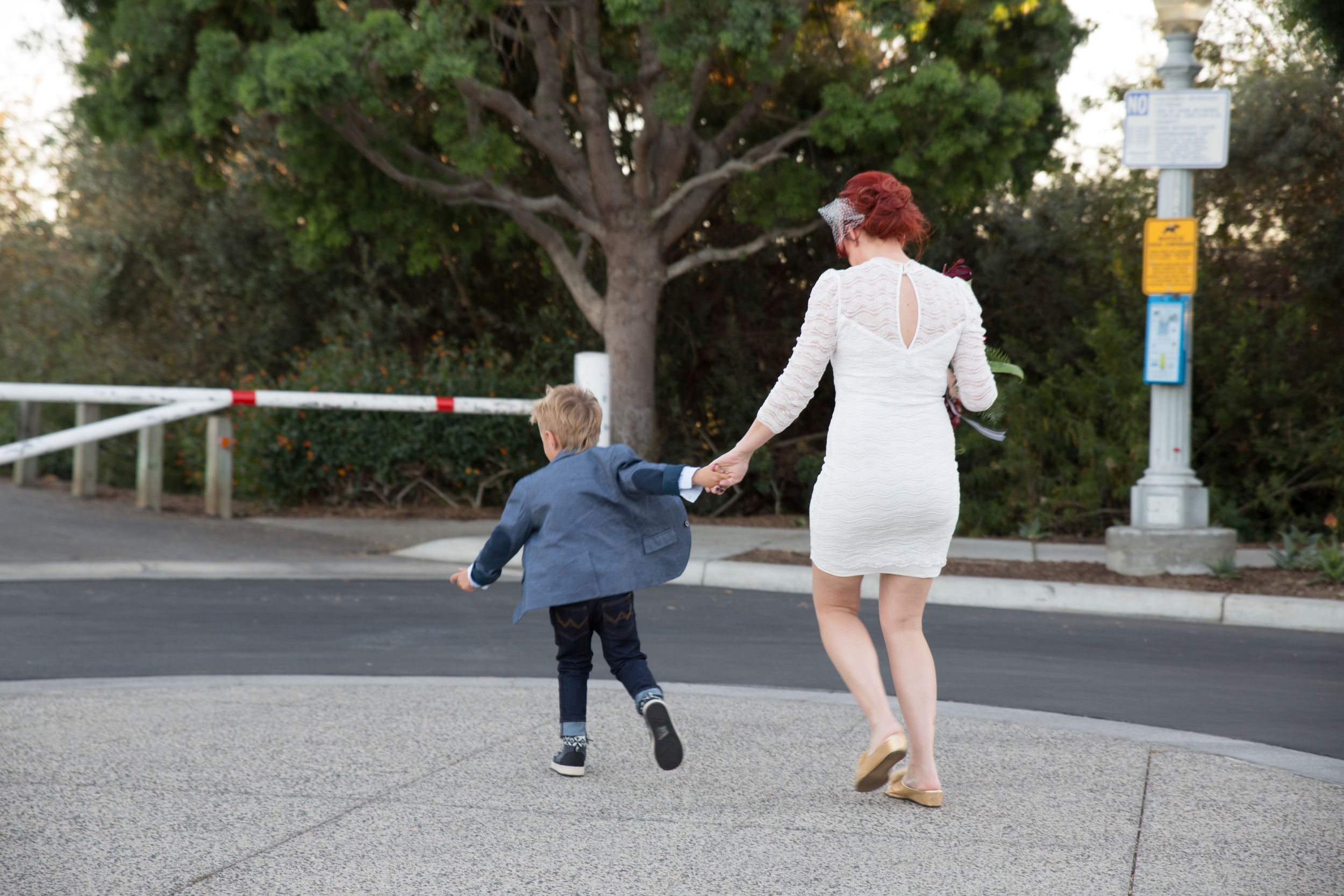 Their son Madden was too excited to walk to the wedding..