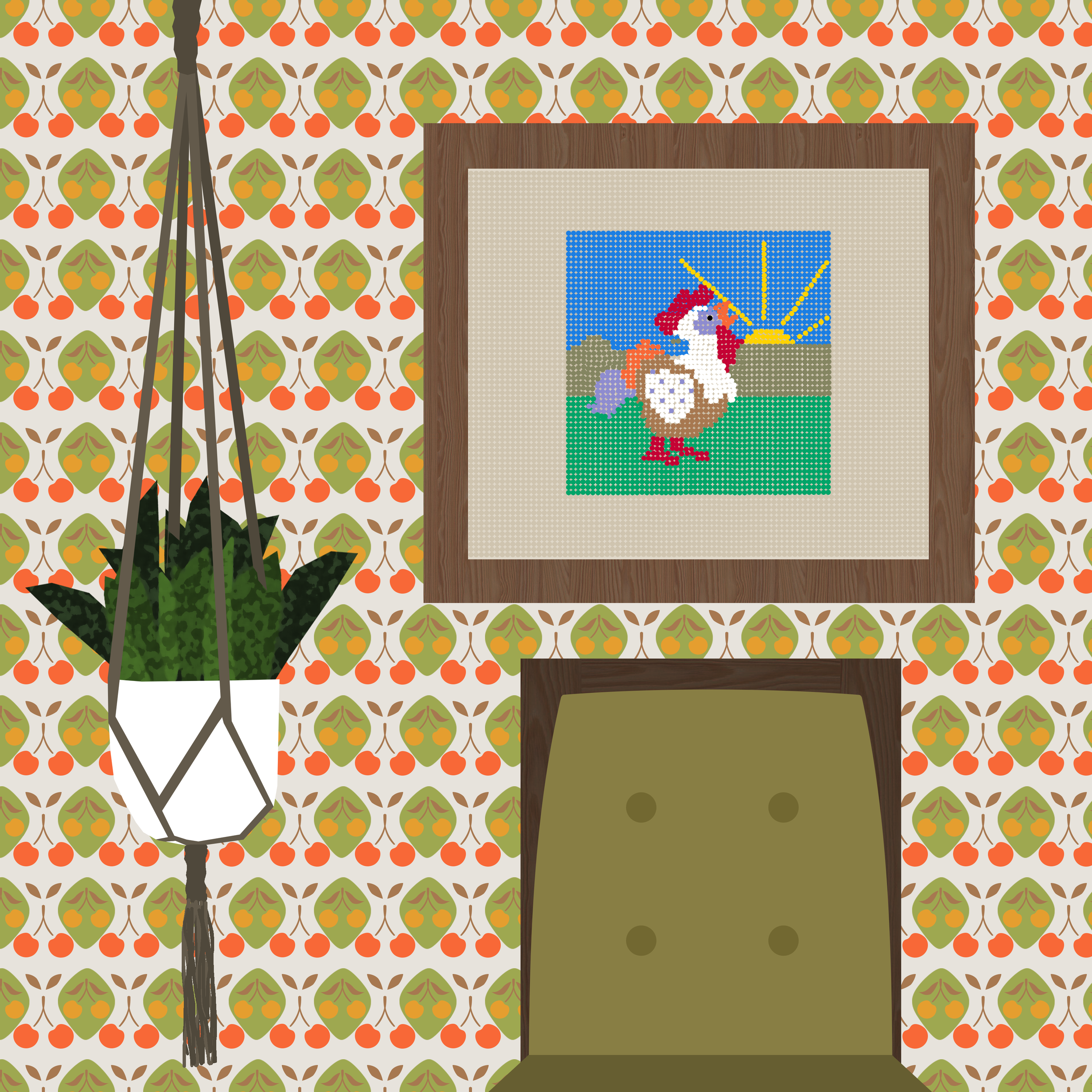 Cherry Wallpaper with Rooster Cross-stitch