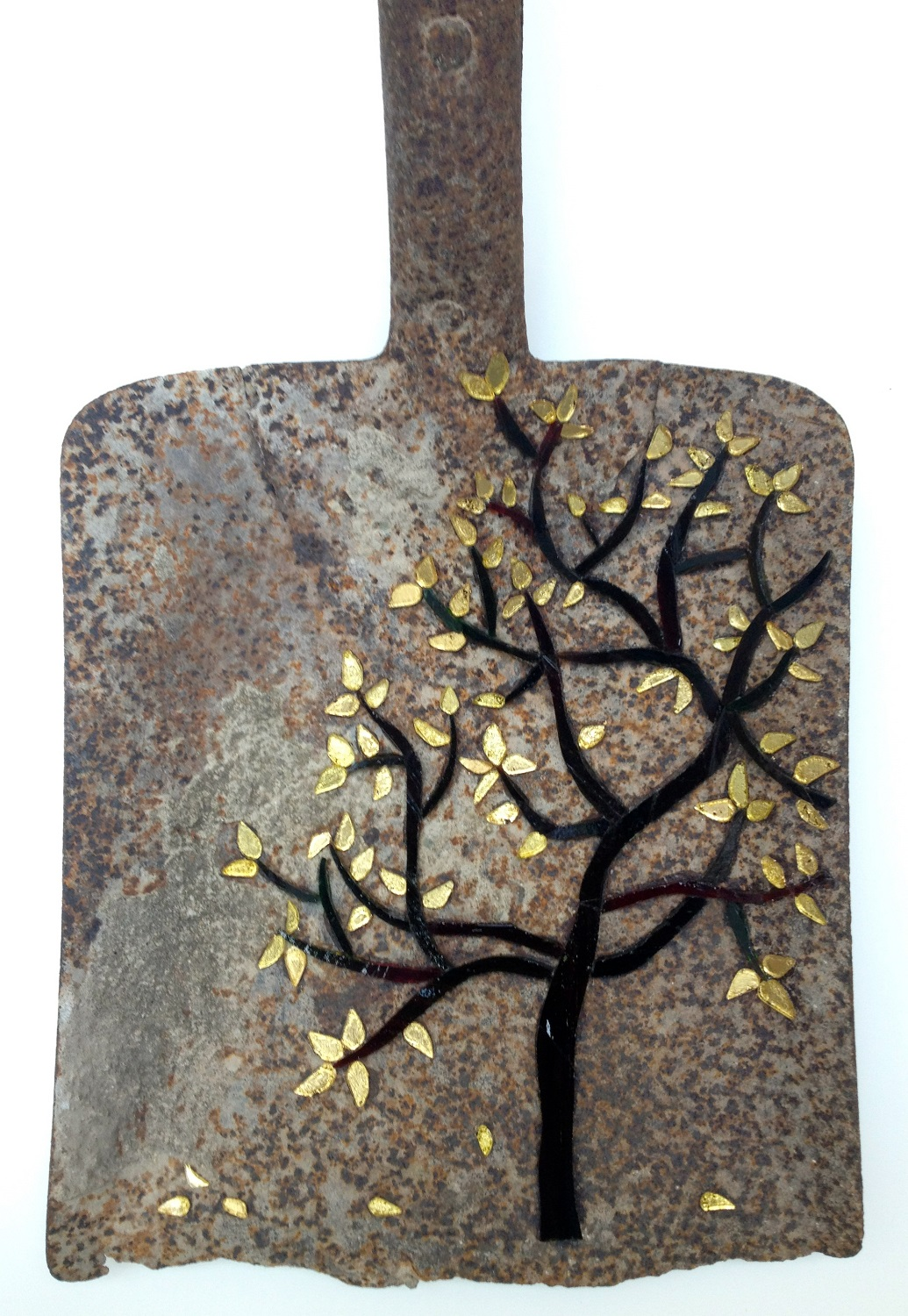 shovel, stained glass, gold leaf