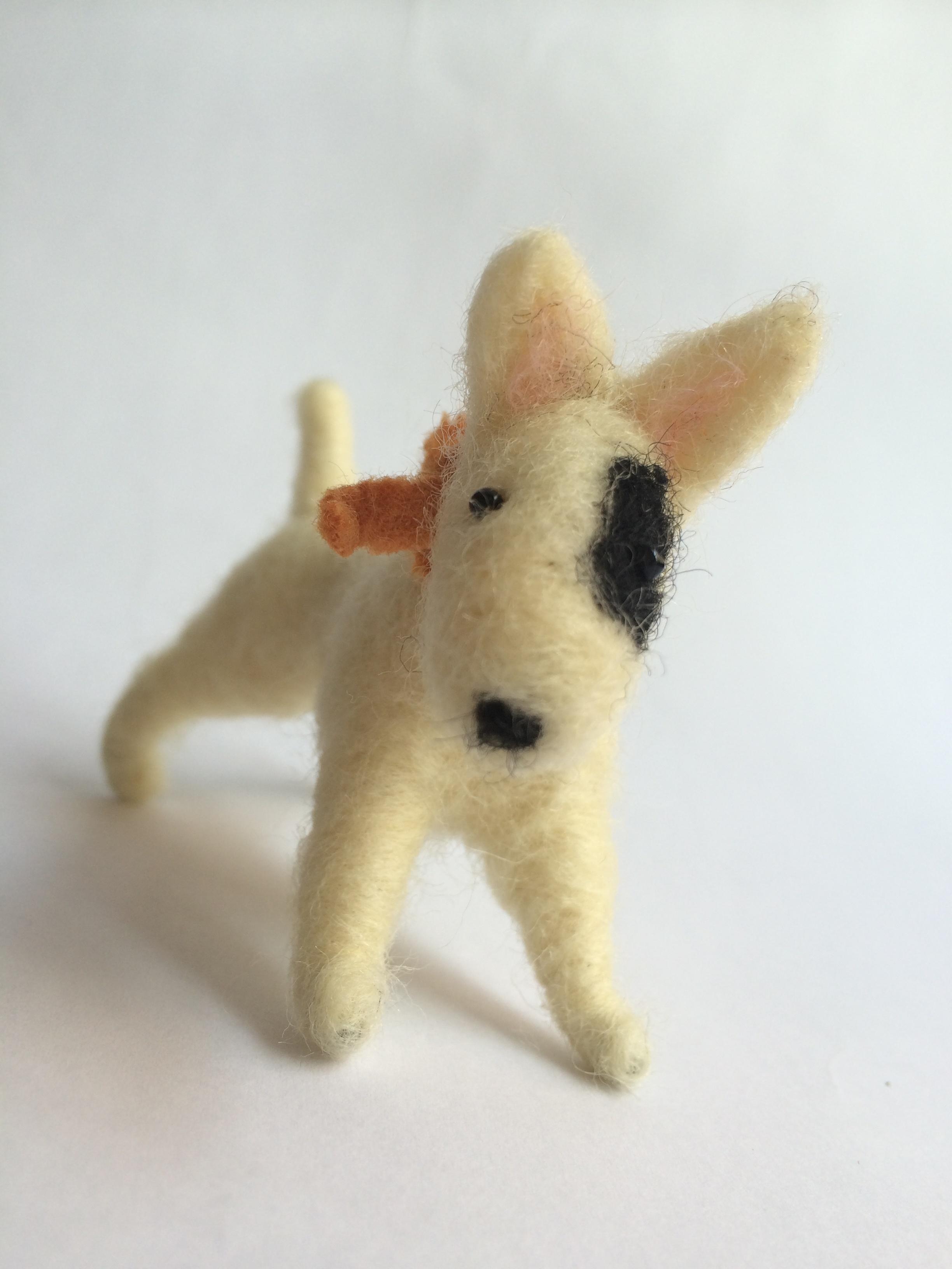 needle felted bull terrier