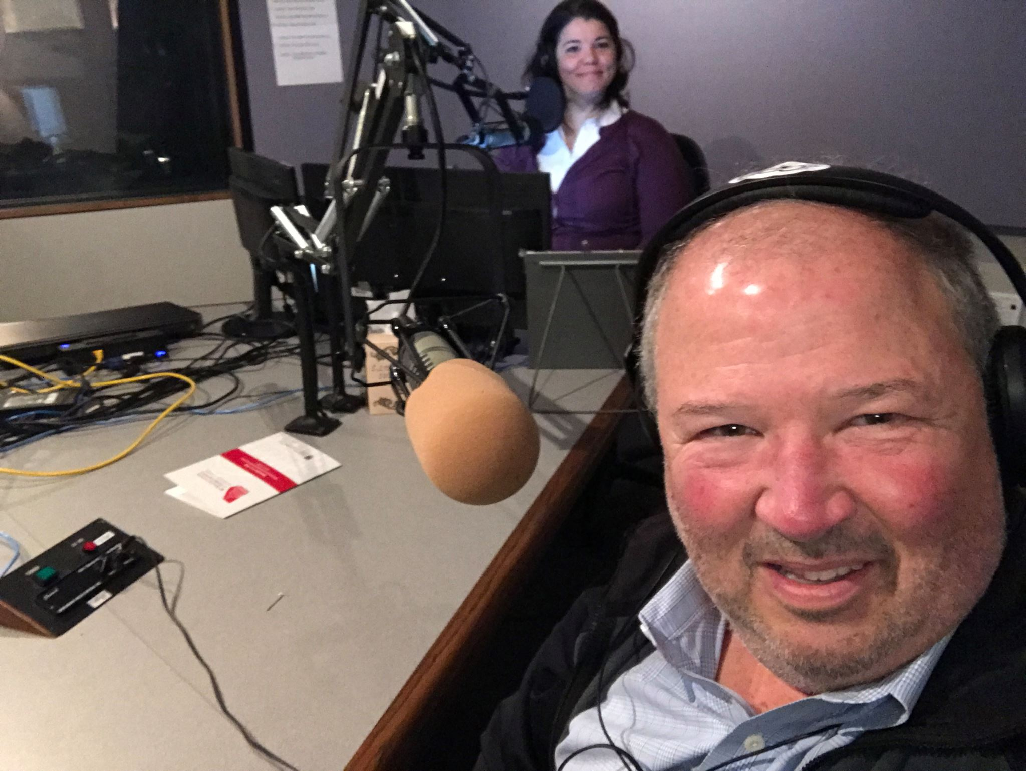 """Craig Miller gears up for his interview with host Celeste Headlee on GPB's """"On Second Thought."""""""