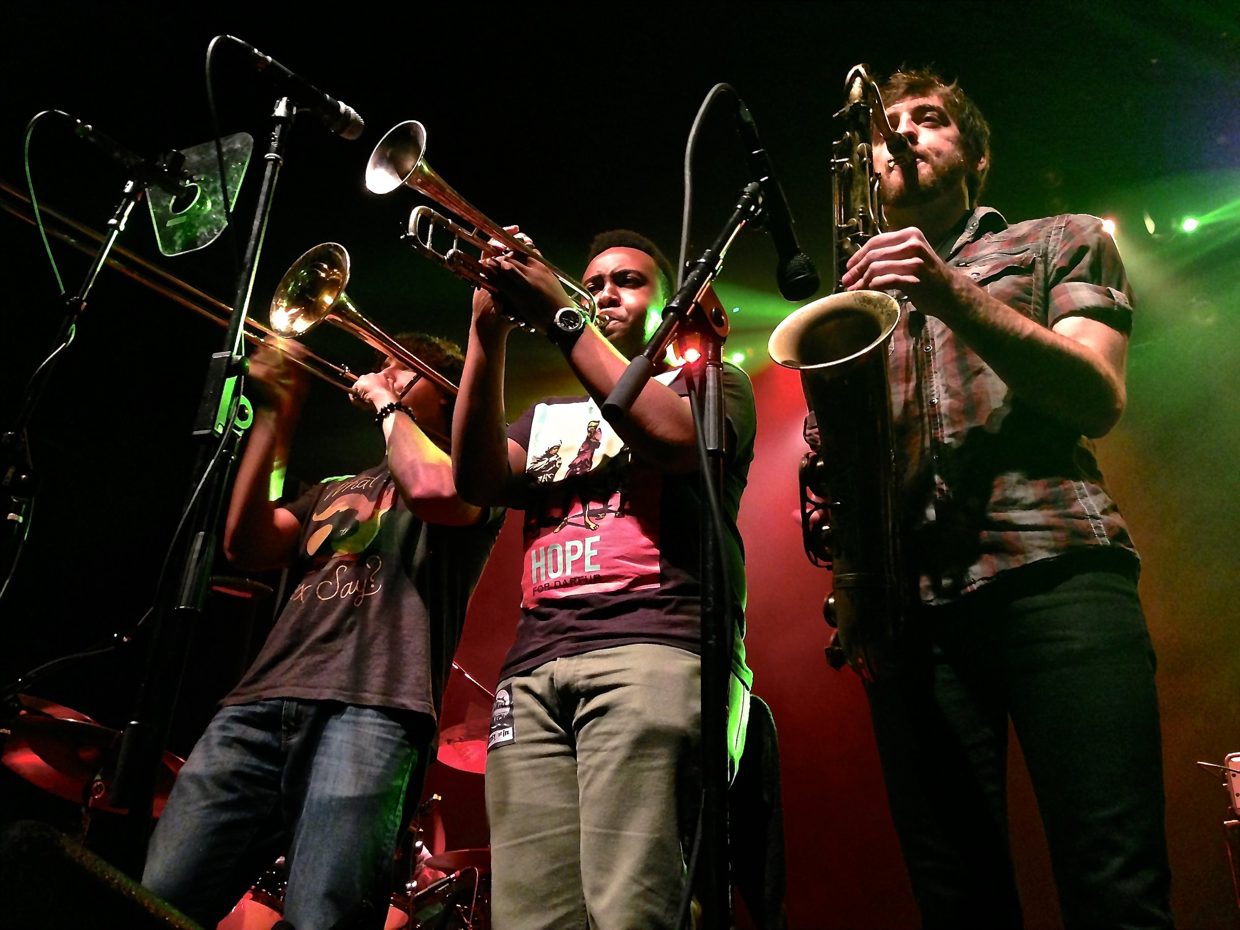 The horn section of The Heard at the Georgia Theatre in Athens..jpg