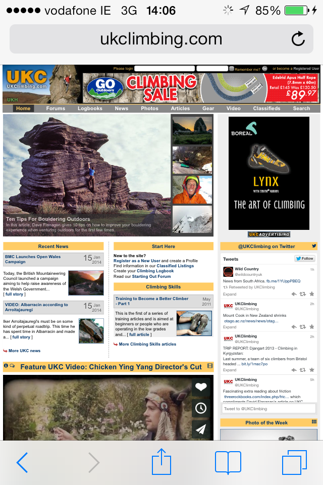UKclimbing.com - a climbing specific site I frequent due to my hobby, taken from a screenshot on an iPhone screen. Imagine the size of the text on a 4 inch display!.