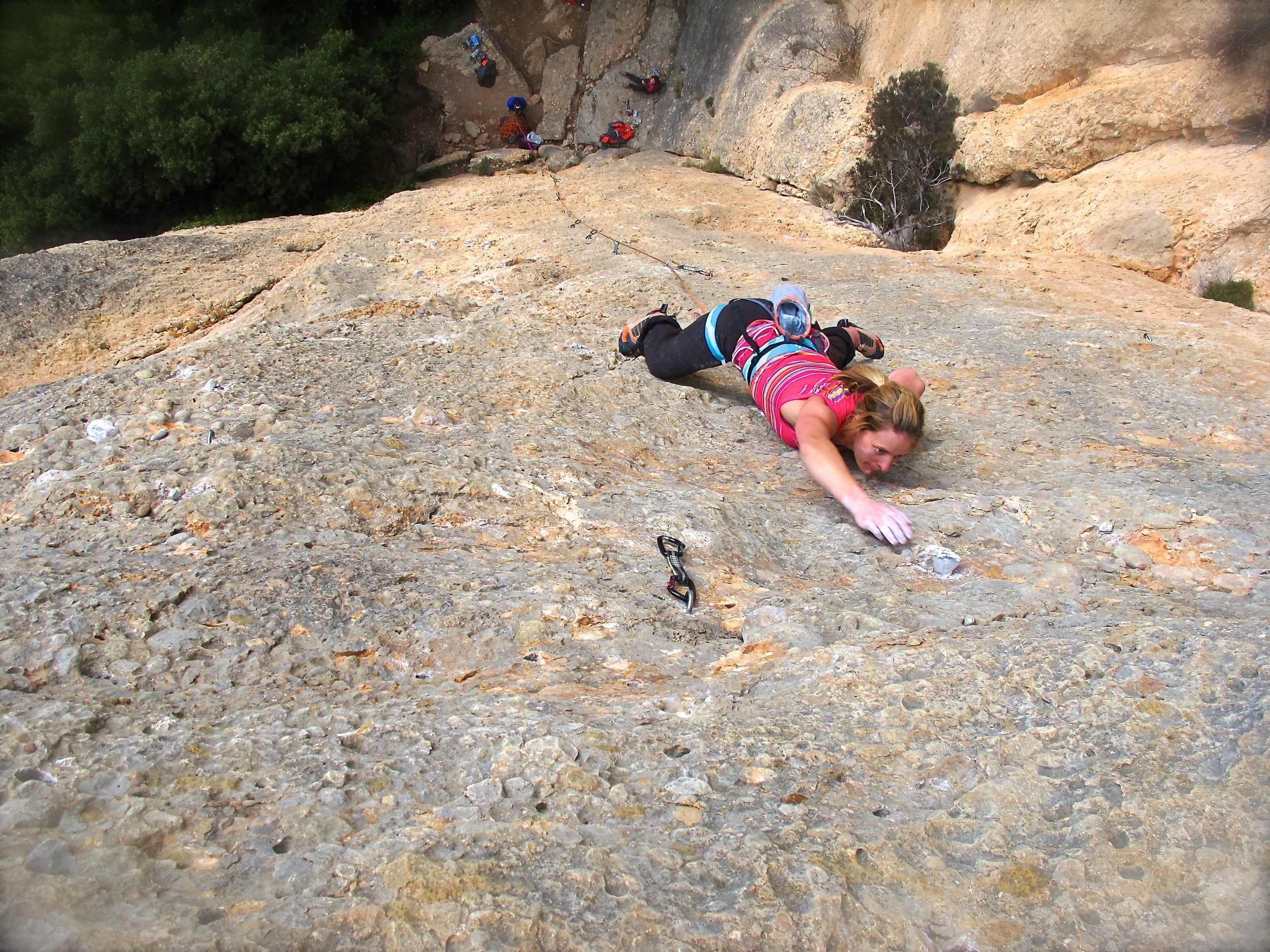 Naomi on-sighting 7a+ at Monstant - all 38 metres of it. Photo by Chris
