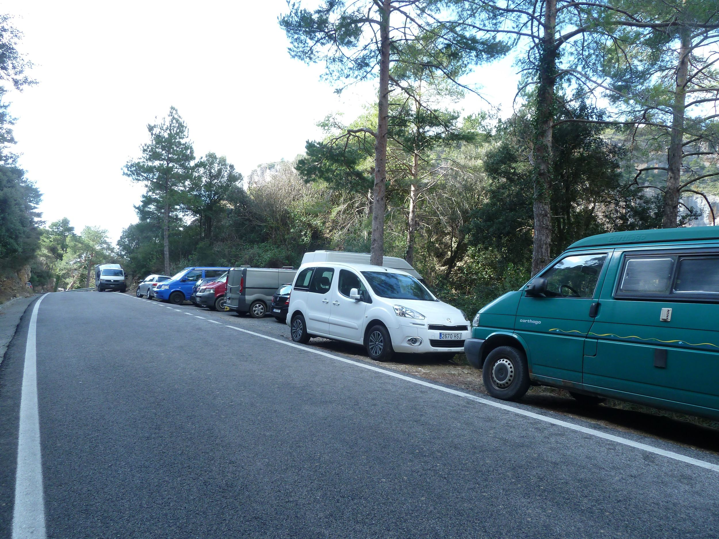 One of the busy parking areas in Siurana valley - this is on a weekday!