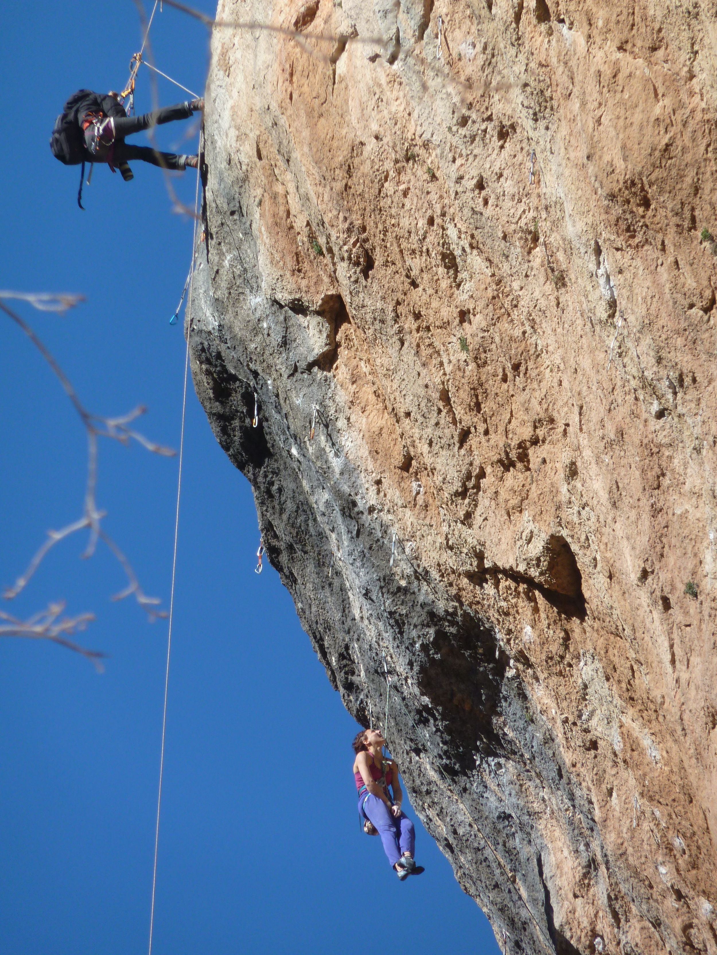 Alizee Dufraisse working the moves of La Rambla 9a+. What was evident was her sheer excitement to be working the route. She didn't send while we were there, but she also was having a great laugh while up trying the extremely difficult moves, including the big falls!