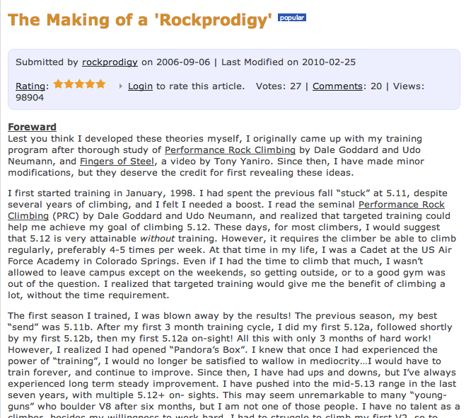 The article that started it all on Rockclimbing.com