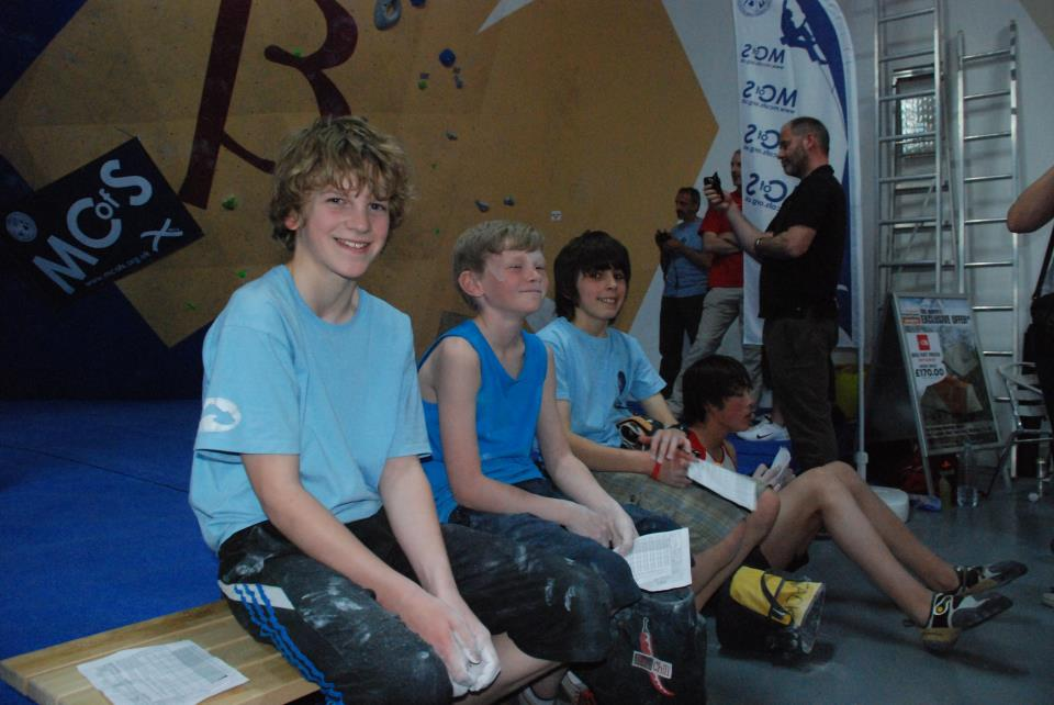 The most important outcome at the end of a youth comp - smiles :) I have no idea where these young competitors finished on the day at the Scottish Youth Bouldering Championships in 2012.