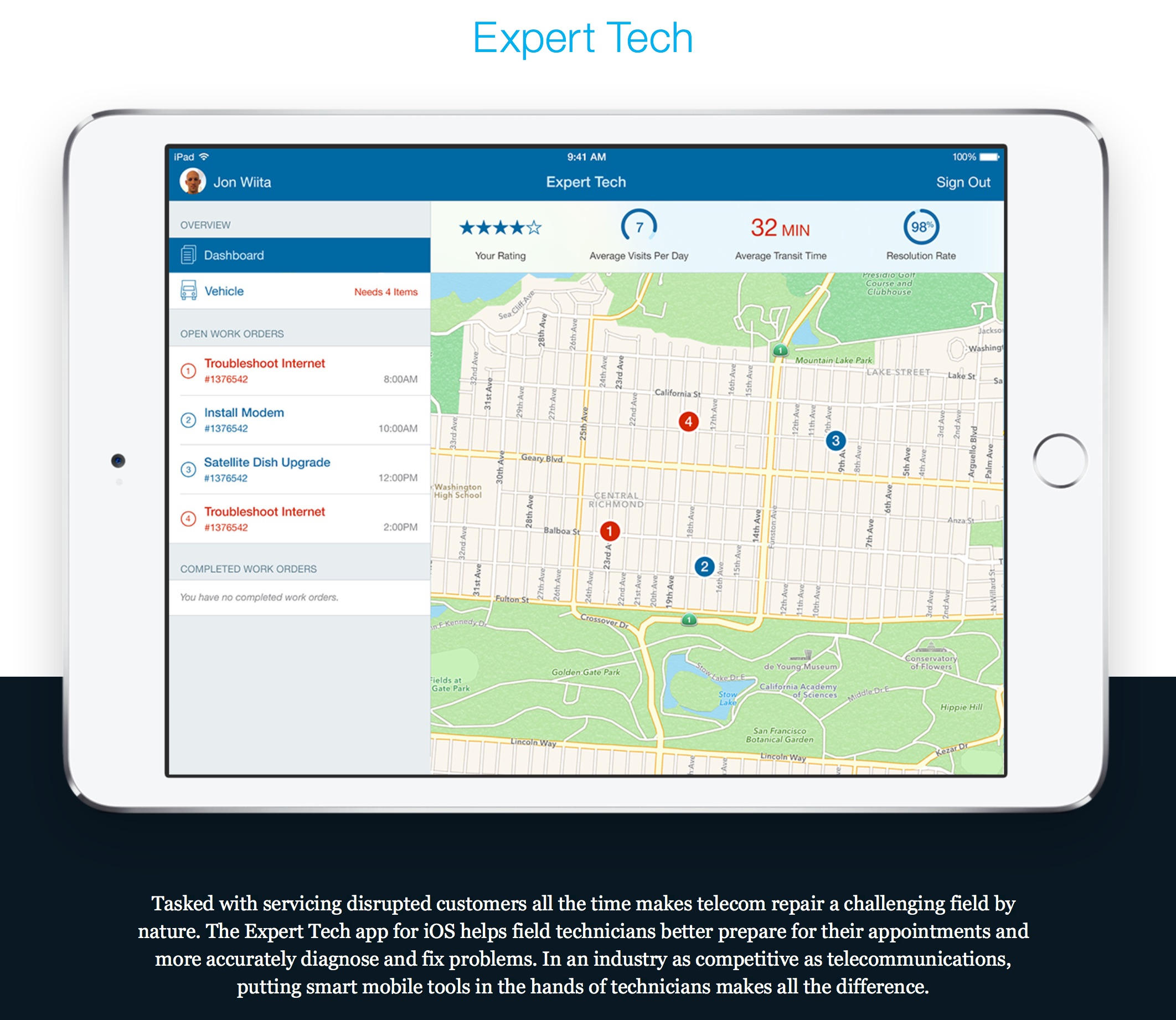 A sample of one of IBM's new enterprise apps currently under development.