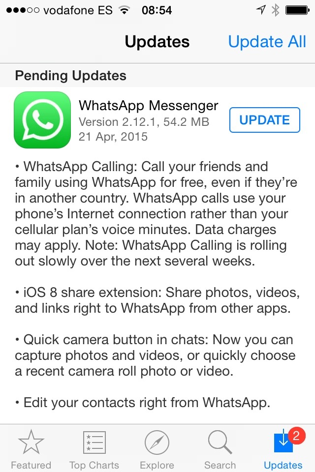 Whatsapp calling now arrives to iOS....