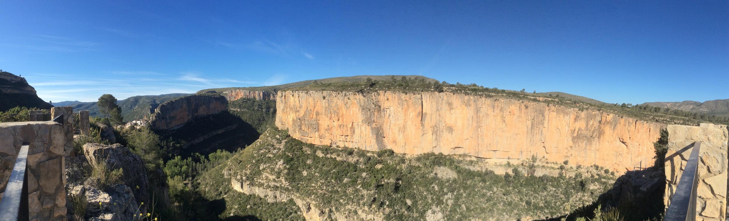 The view from El Altico refugio in Chulilla - village to the left.