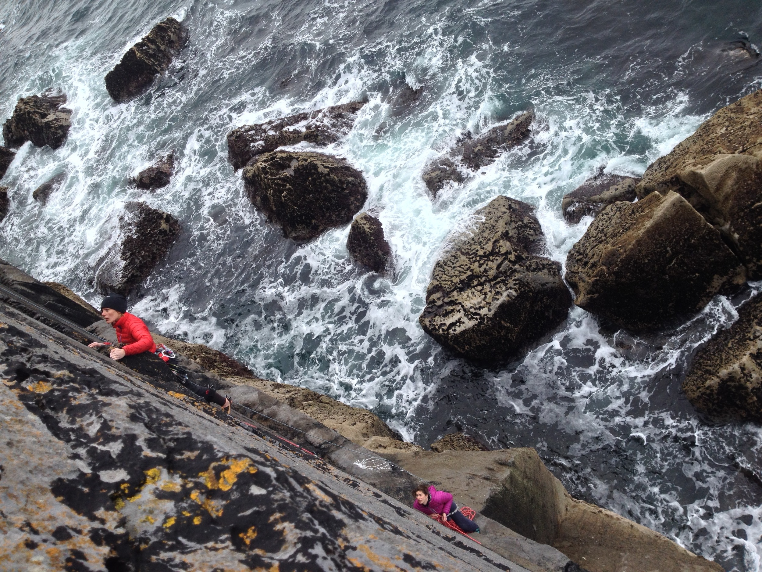 Naomi rambling up ?Garbh? (I can't remember) - as always making easy work of the climb including the wild weather.