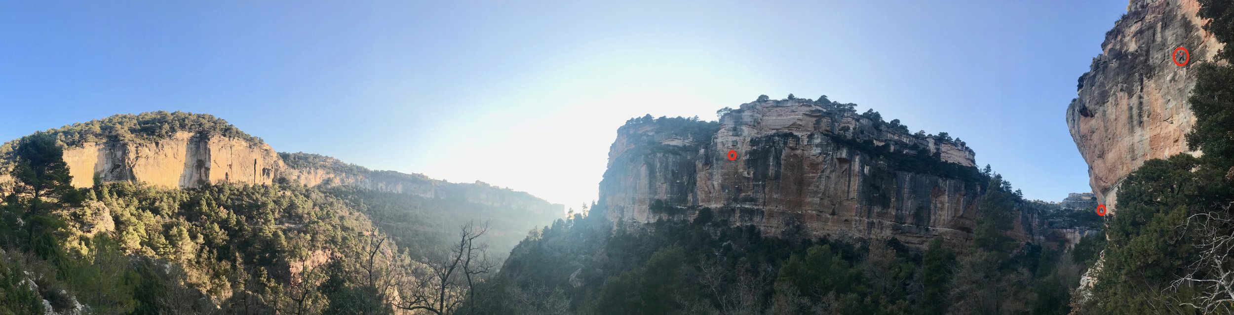 Siurana's incredible valley crags. Again, circling the climbers to give sense of scale and perspective.