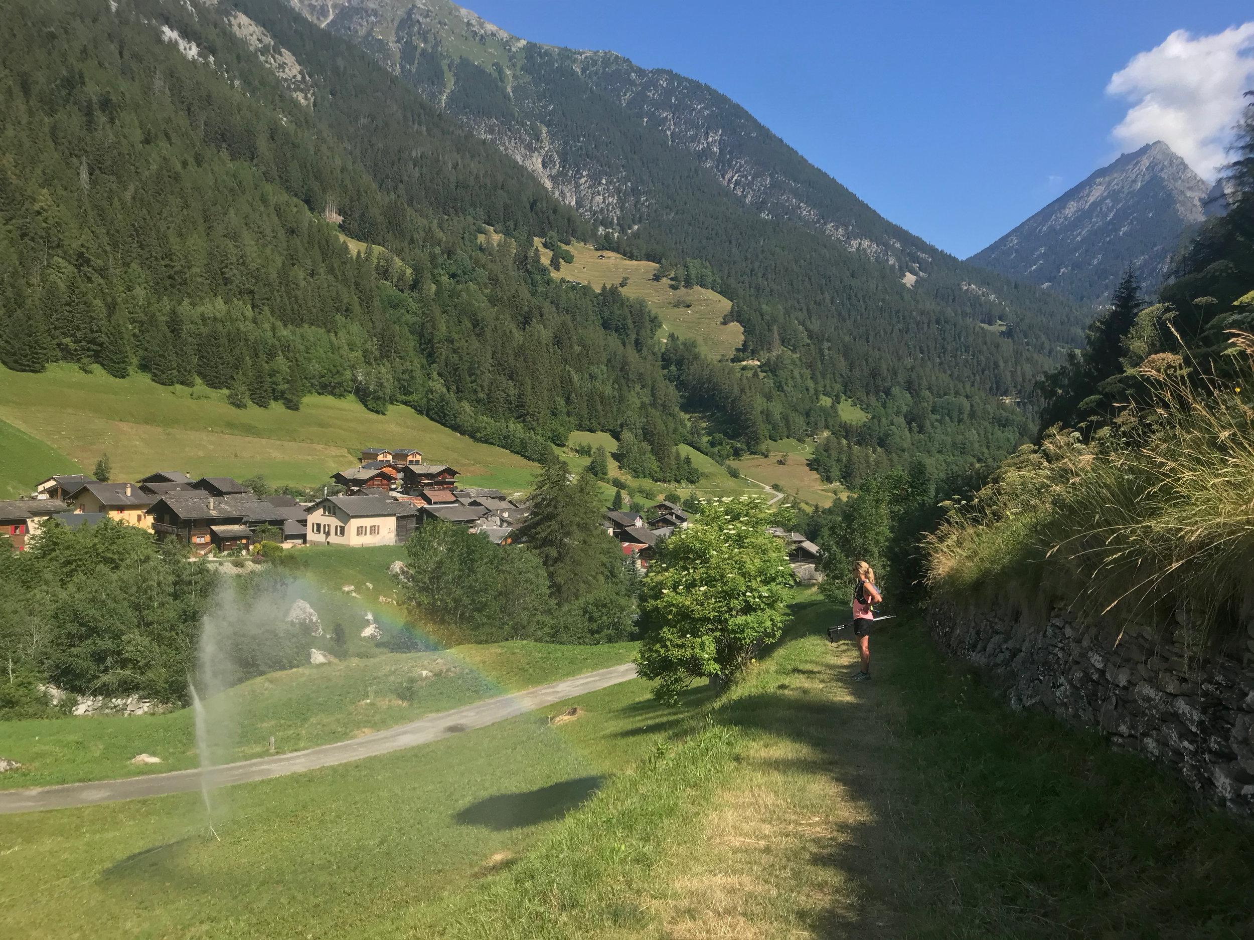 Switzerland is so pretty, even the garden sprayers form rainbows.