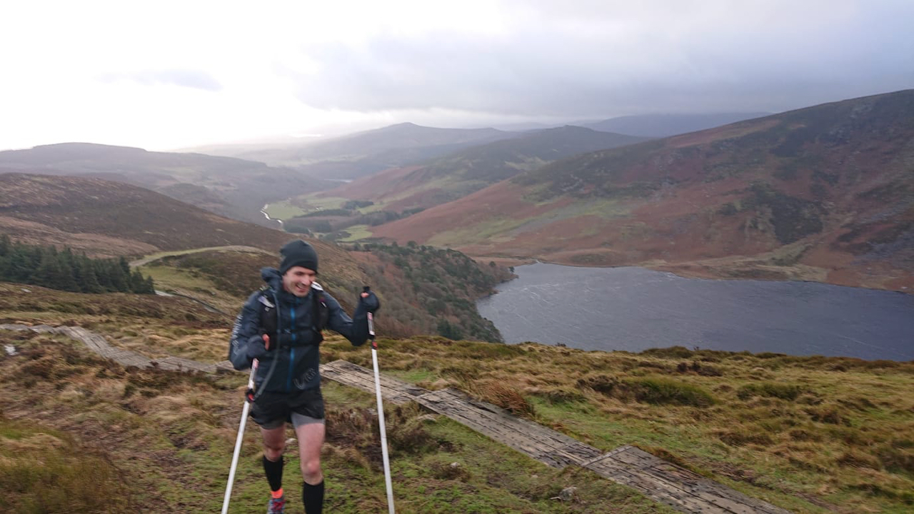 Heading onto Djouce with Lough Tay in the background. Not on the boardwalk as wind made it impossible to do so.