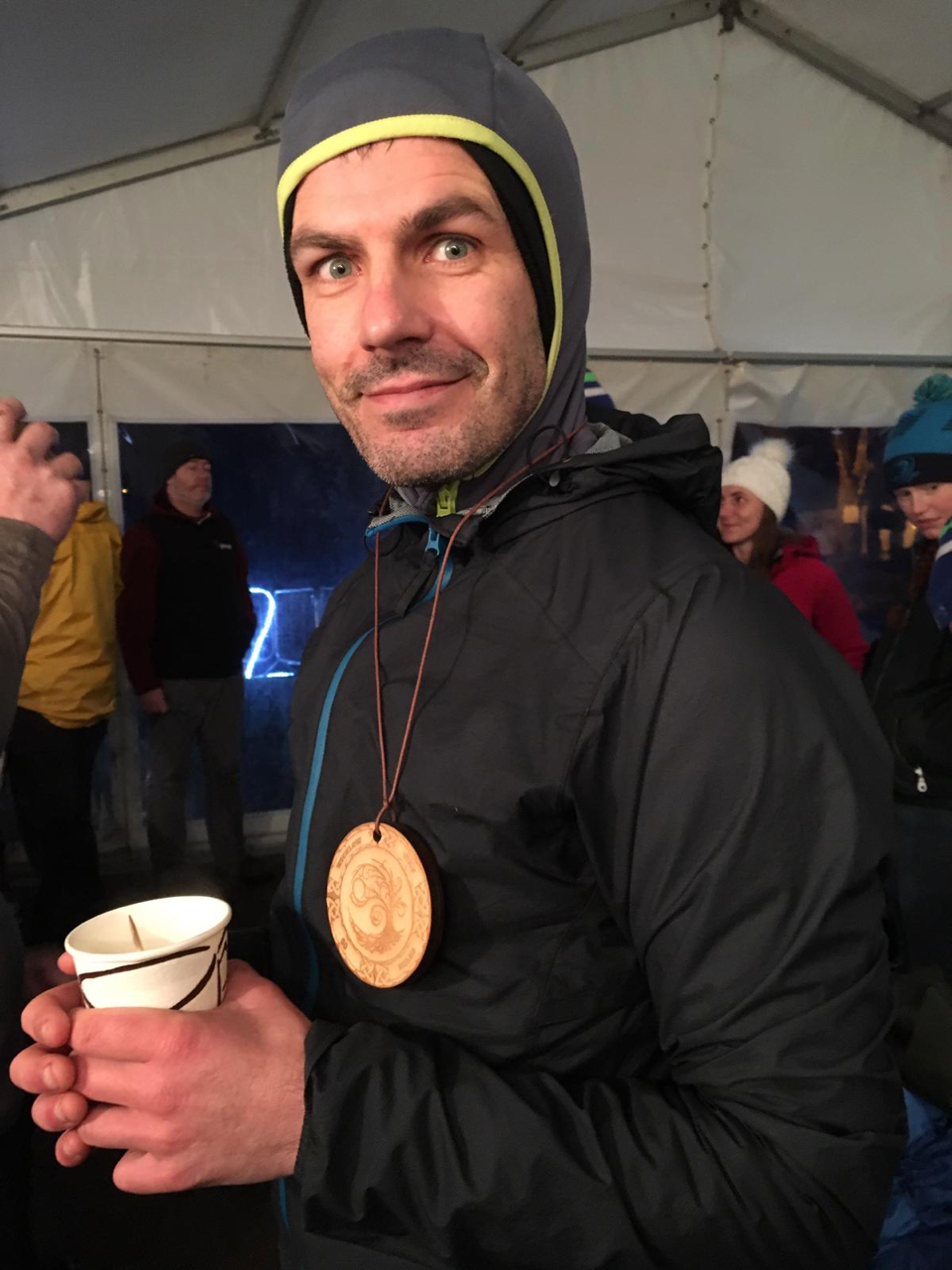 The finishing medal and a soup. Wearing every piece of clothing I have.