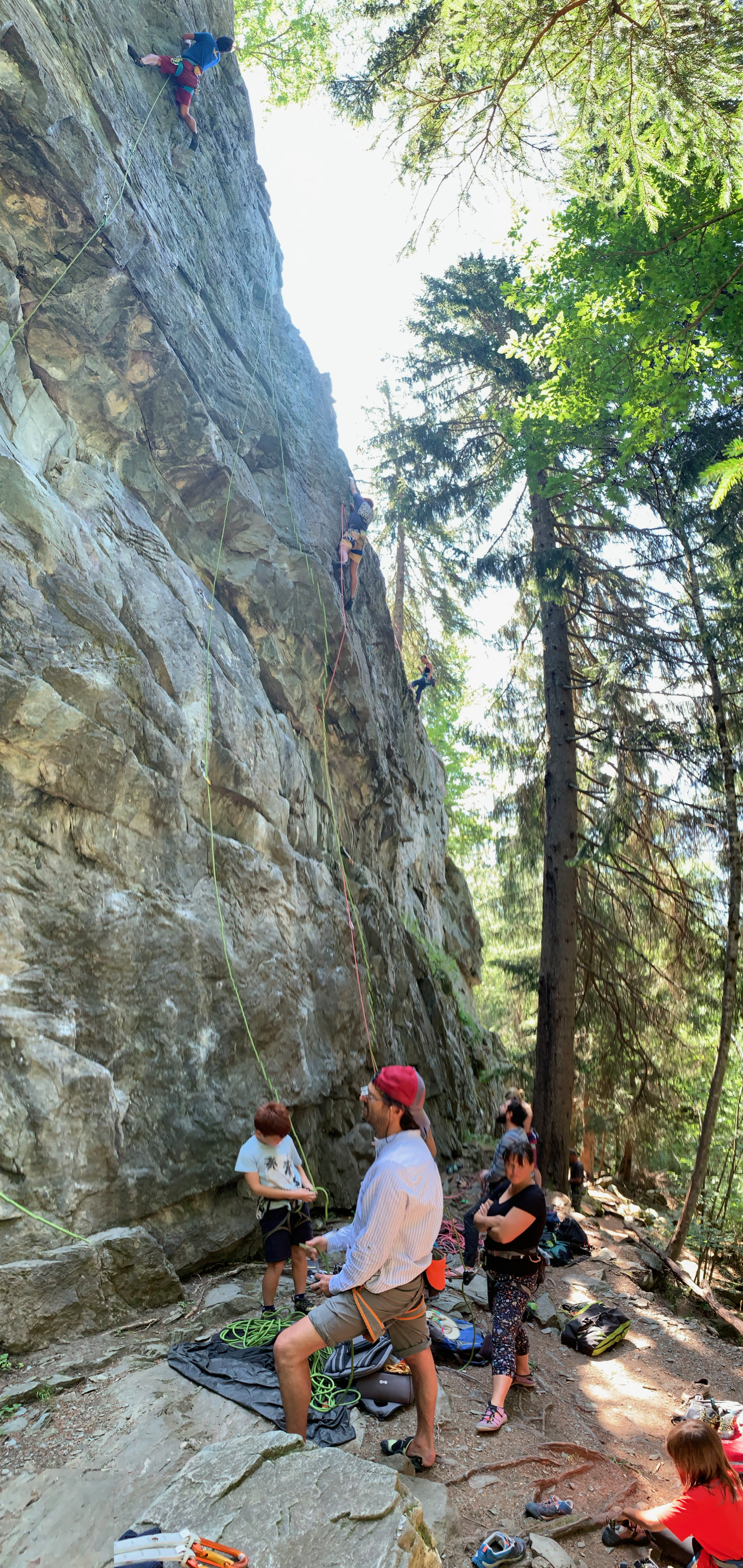 Re-acquainting ourselves with roc climbing at a busy crag above Chamonix
