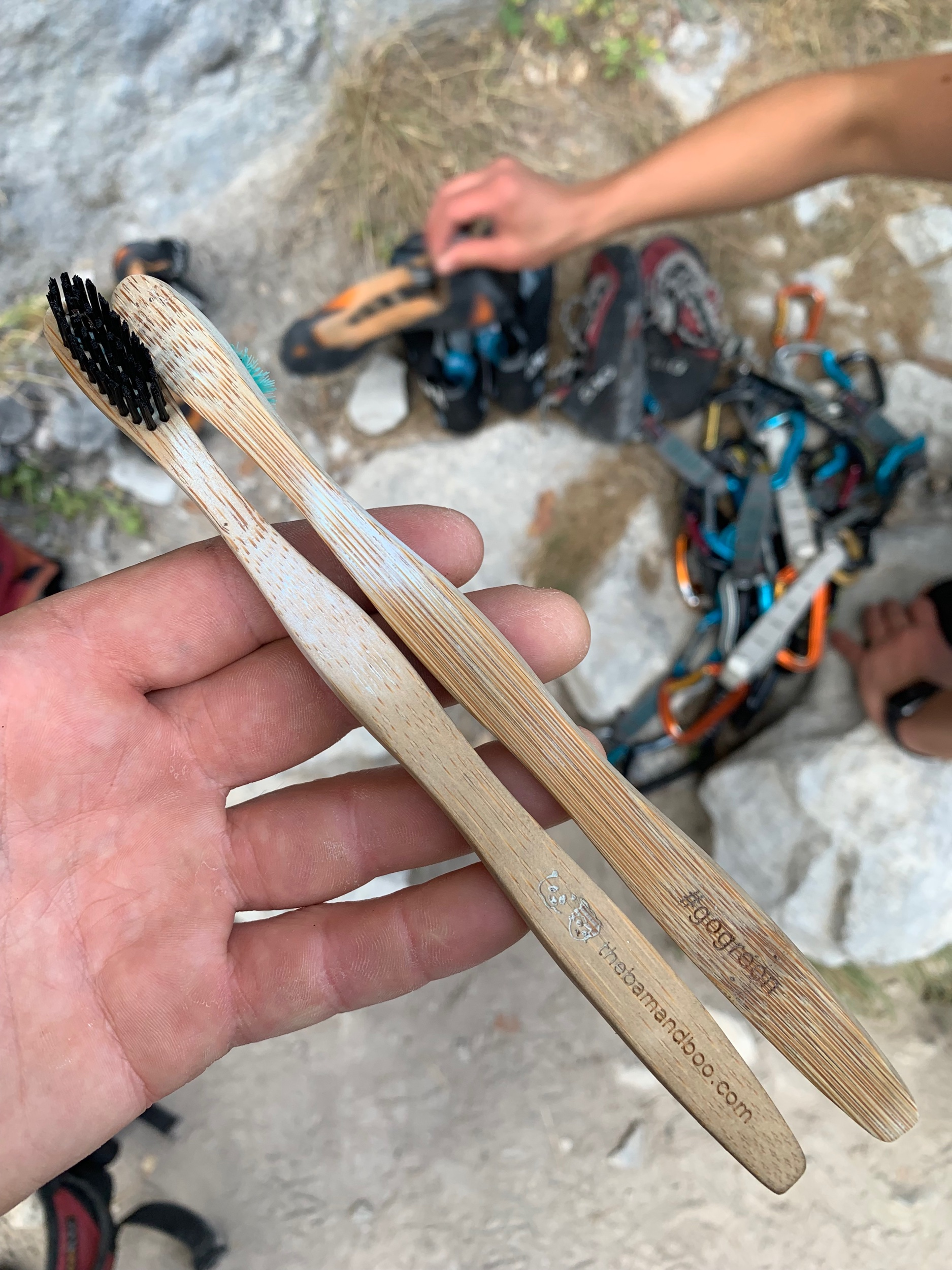A second life for our BamandBoo toothbrushes - scrubbing holds on climbs!