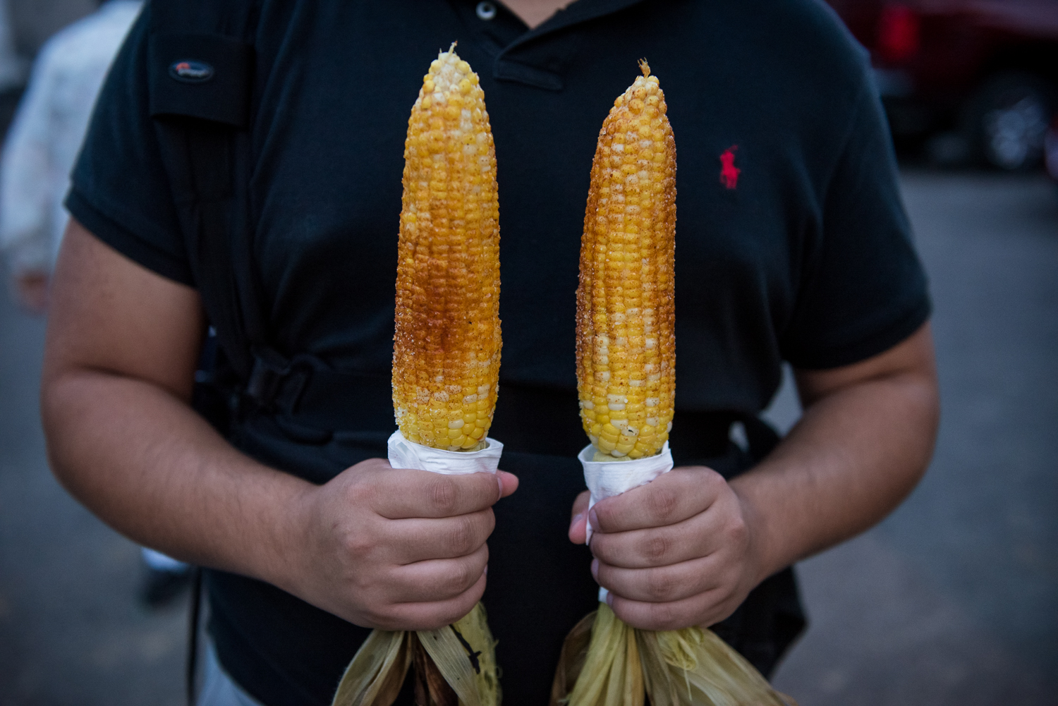 Atmosphere of Summer Music Festival  Musikfest, August 2016 in Bethlehem, Pennsylvania.  Seasoned Corn on the Cob from Aw Shucks Food Stand, Volksplatz.