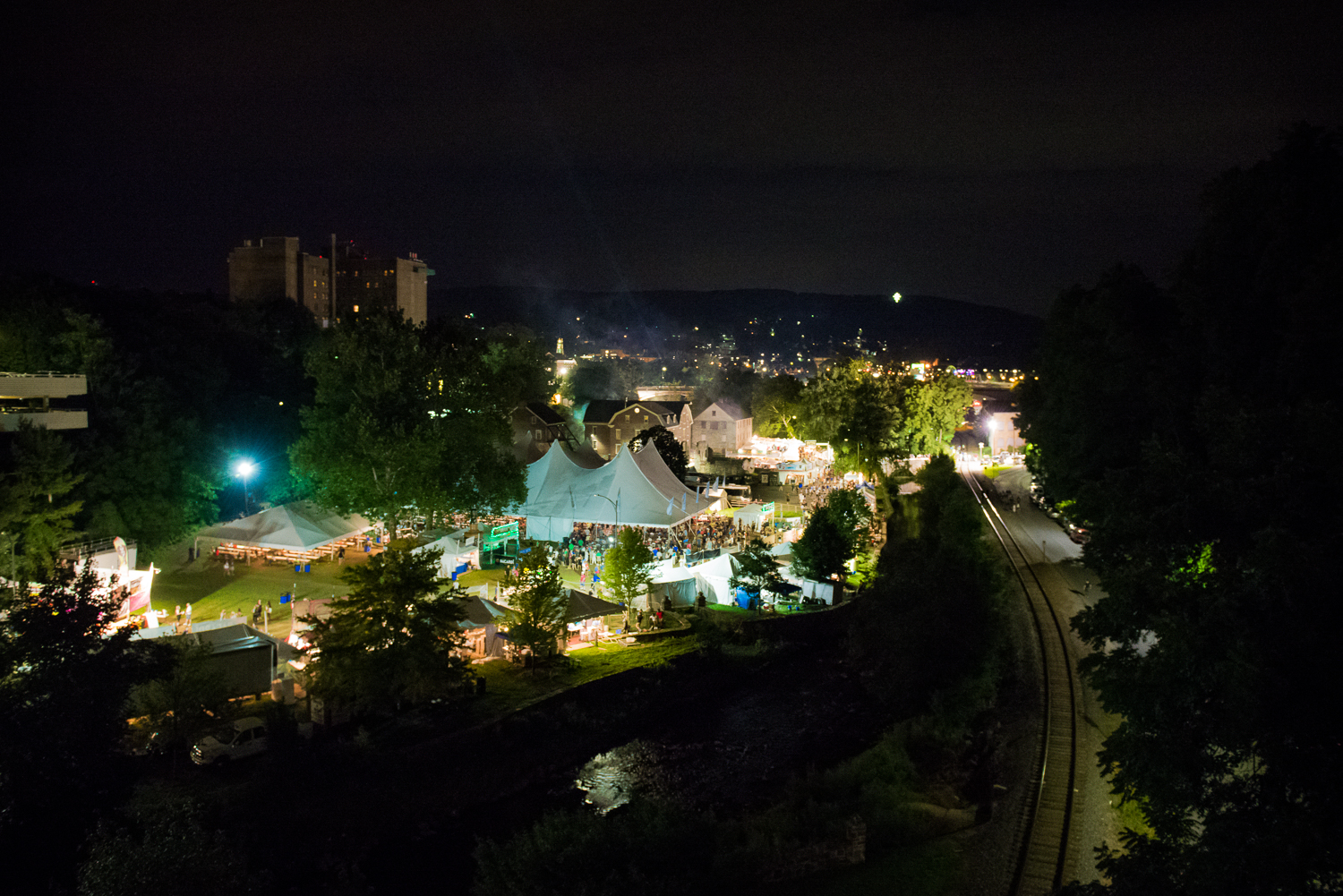 Atmosphere of Summer Music Festival  Musikfest, August 2016 in Bethlehem, Pennsylvania.  Volksplatz.