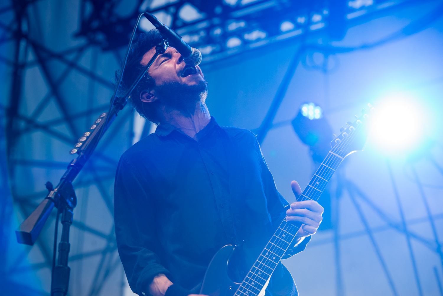 Chevelle frontman Pete Loeffler performing at Summer Music Festival  Musikfest, August 2016 in Bethlehem, Pennsylvania.  Sands Steel Stage.
