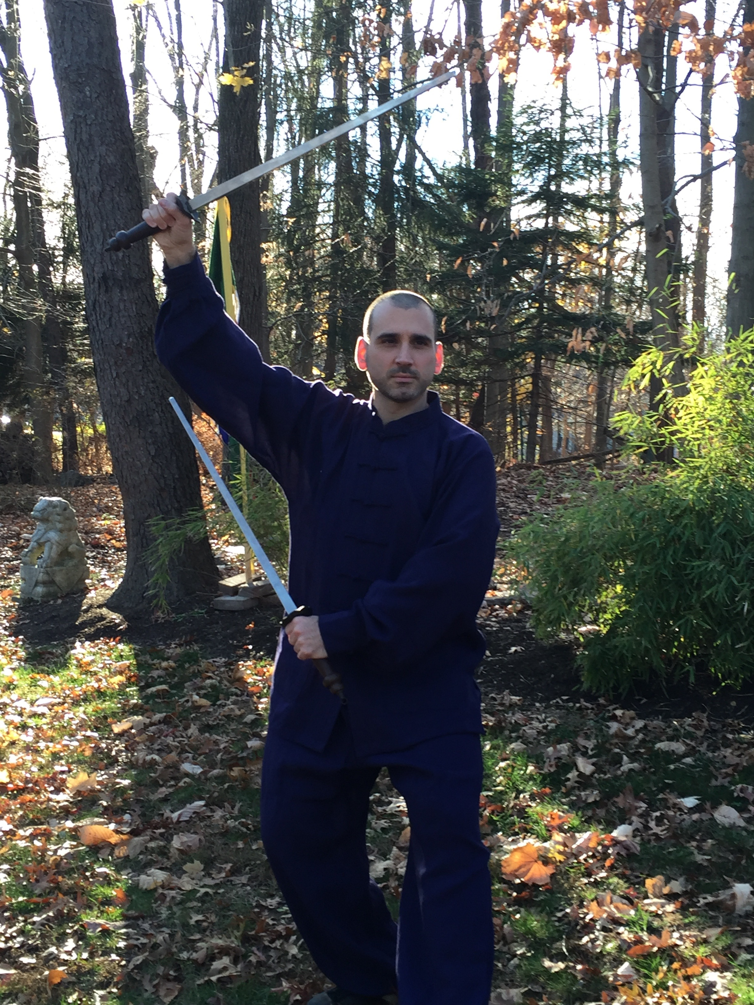 Taiji Jian 雙鐧 - Dr. McCann with the traditional steel double mace (jiǎn 鐧). This is a traditional heavy weapon of Hunyuan and Chen Taiji, with each one weighing about 2kg.