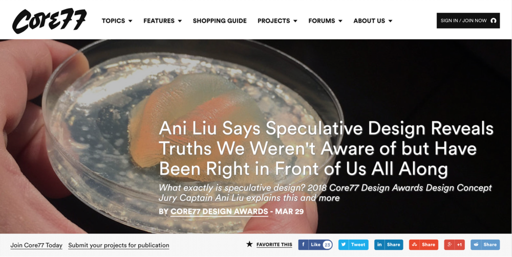 http://www.core77.com/posts/76465/Ani-Liu-Says-Speculative-Design-Reveals-Truths-We-Werent-Aware-of-but-Have-Been-Right-in-Front-of-Us-All-Along