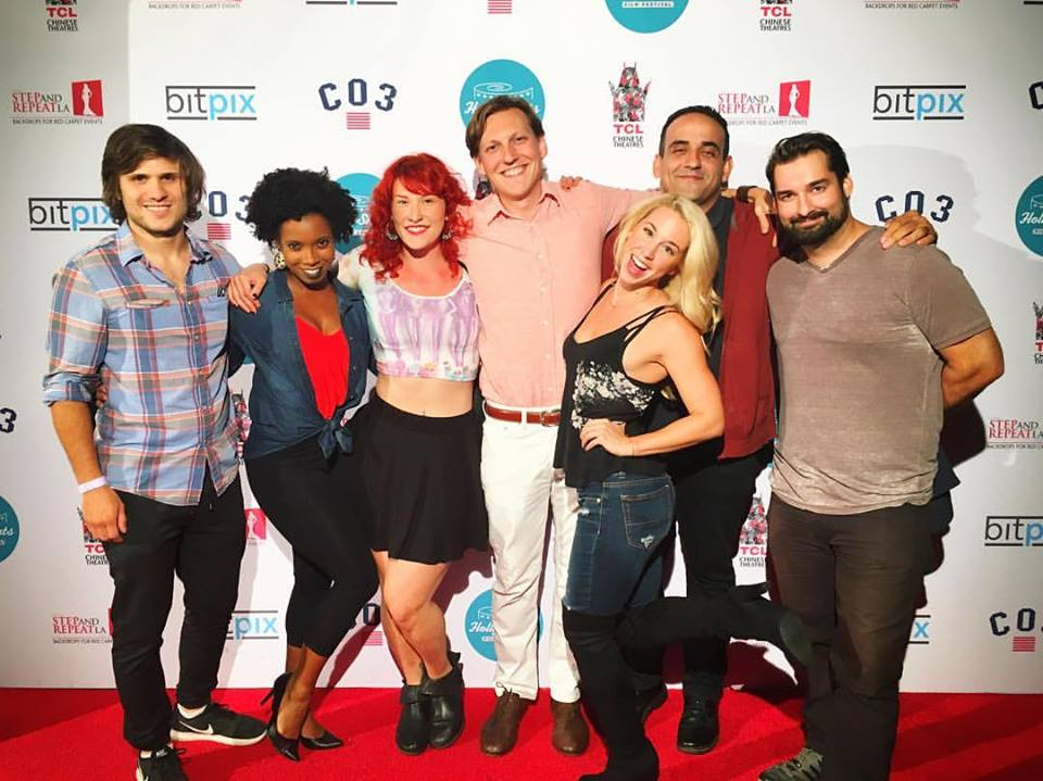 The phenomenal cast & crew of Brix And The Bitch at   HollyShorts Film Festival !    From Left to Right:  Cody Blase Skully  (Sound Artist),  Alex Marshall-Brown  (Actor),  Lili Kaytmaz  (Lead Make-up Artist),  Nico Raineau  (Director/Writer),  Dre Swain  (Actor),  Carlos Foglia  (Actor & Graphic Designer),  John Gardiner  (Director of Photography).