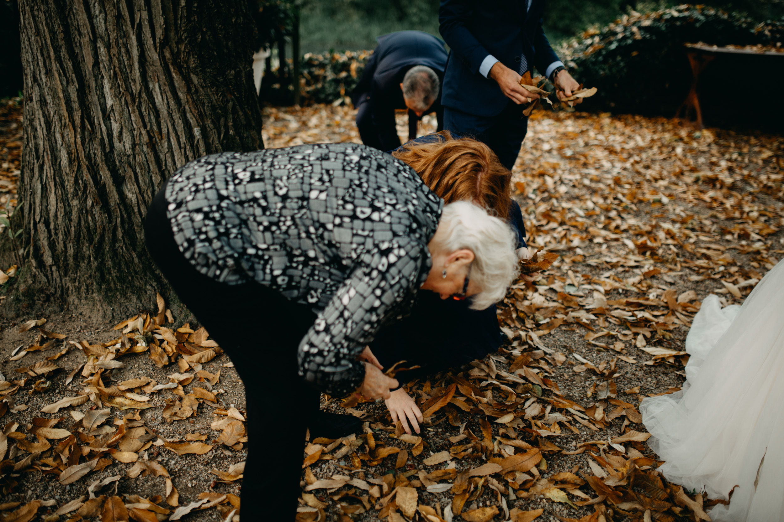 The whole family wanted to help during the shoot. Here are the grandmas gathering leaves