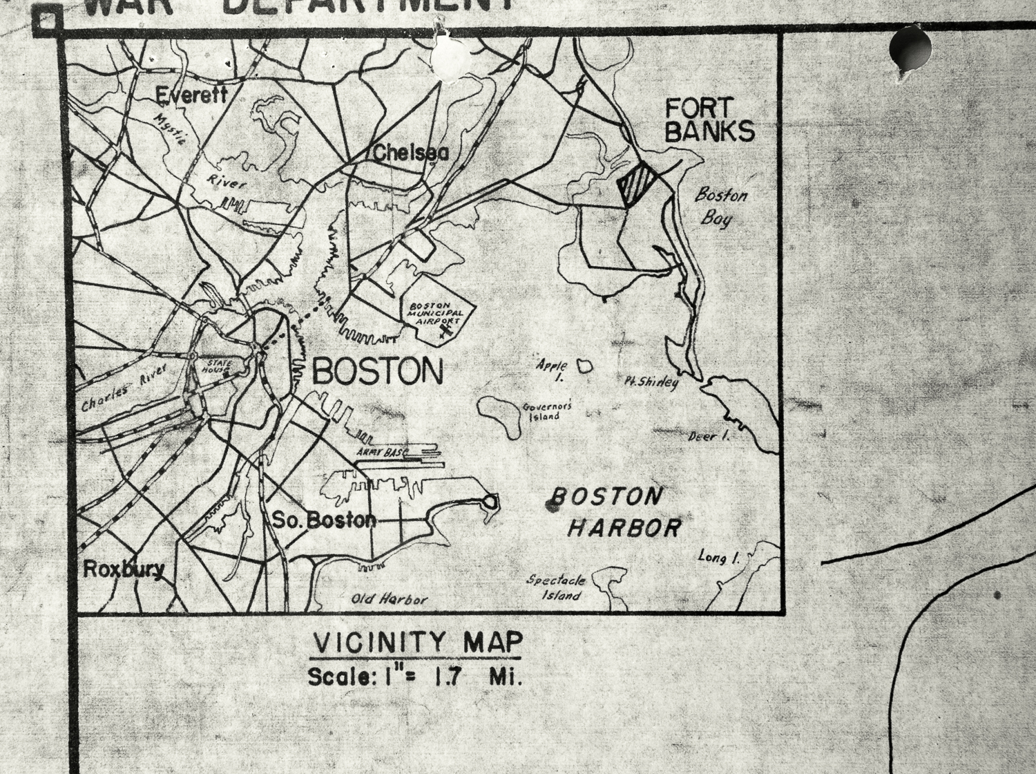 """Map Detail, Boston Harbor. """"A map detail depicting Boston Harbor and positioning Fort Banks in Winthrop in relationship to the city of Boston."""" c. 1970; Records of the Public Building Service 1932-1978, RG 121, NARA Boston."""