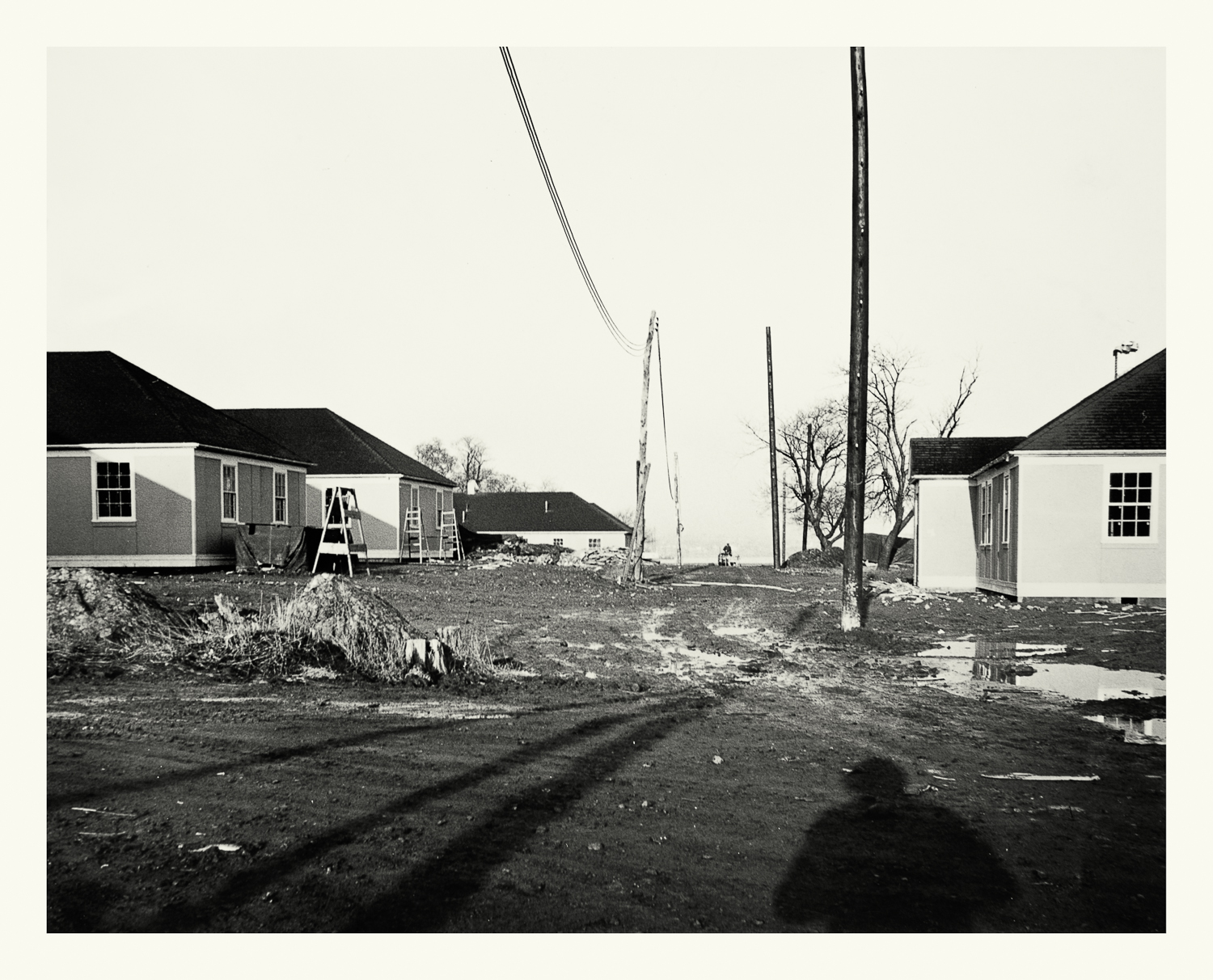 """Photograph No. PC 468. """"Photograph depicting the construction of Naval personnel housing at the Hingham Naval Ammunition Depot."""" c. 1944; Records of Naval Districts and Shore Establishments, RG 181, NARA Boston."""