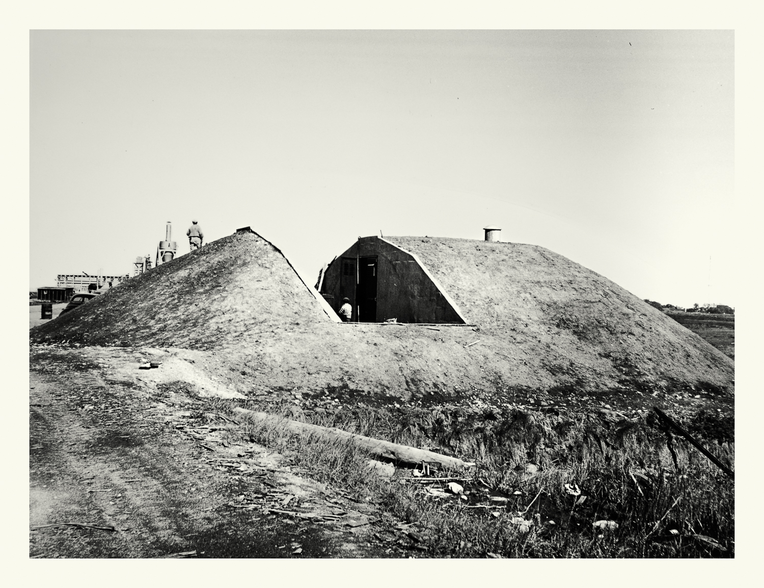 """Photograph No. PC 466. """"Photograph depicting the construction of a bunker containing naval armaments at the Hingham Naval Ammunition Depot."""" c. 1930's; Records of Naval Districts and Shore Establishments, Record Group 181, NARA Boston."""