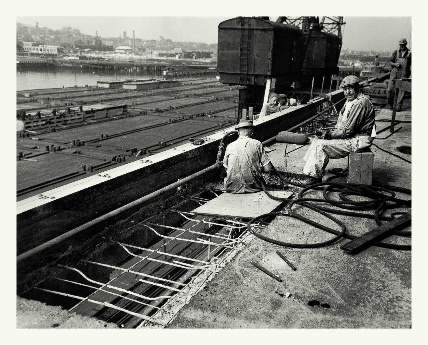 """Photograph No. 4 """"Photograph depicting workers during the construction of the Boston Army Base."""" August 12, 1946; US Army Corps of Engineers. Records of the Office of the Chief of Engineers, 1789-1999, RG 77; NARA Boston."""