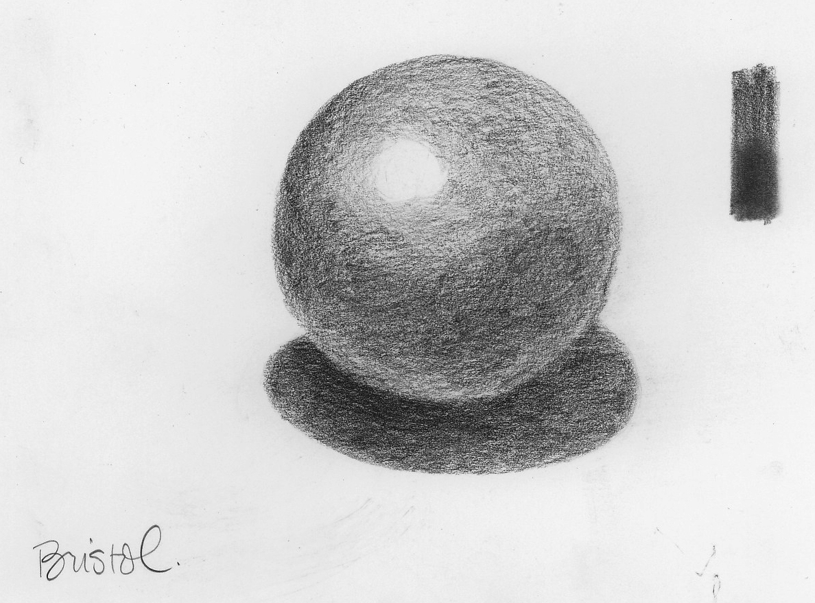Graphite on Bristol paper. The test strip on the top left show the effect of using a blending stump on this surface (bottom half).