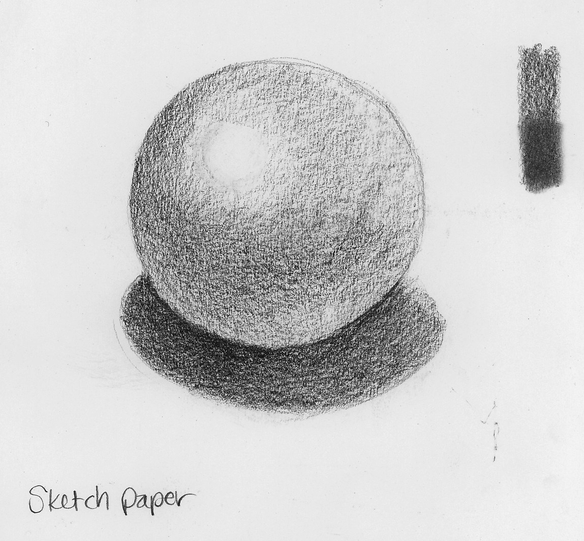 Graphite on Sketch paper. The test strip on the top left show the effect of using a blending stump on this surface (bottom half).