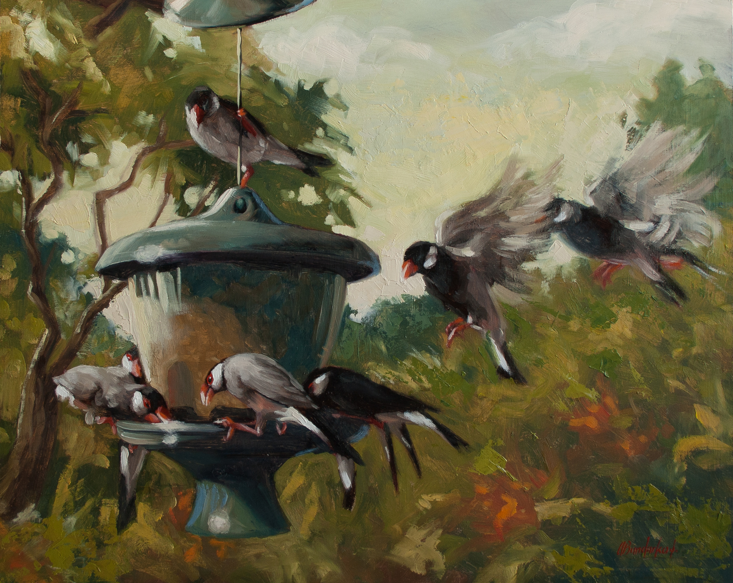 A Host of Java Sparrows, 16x20-in, Oil on cradled board