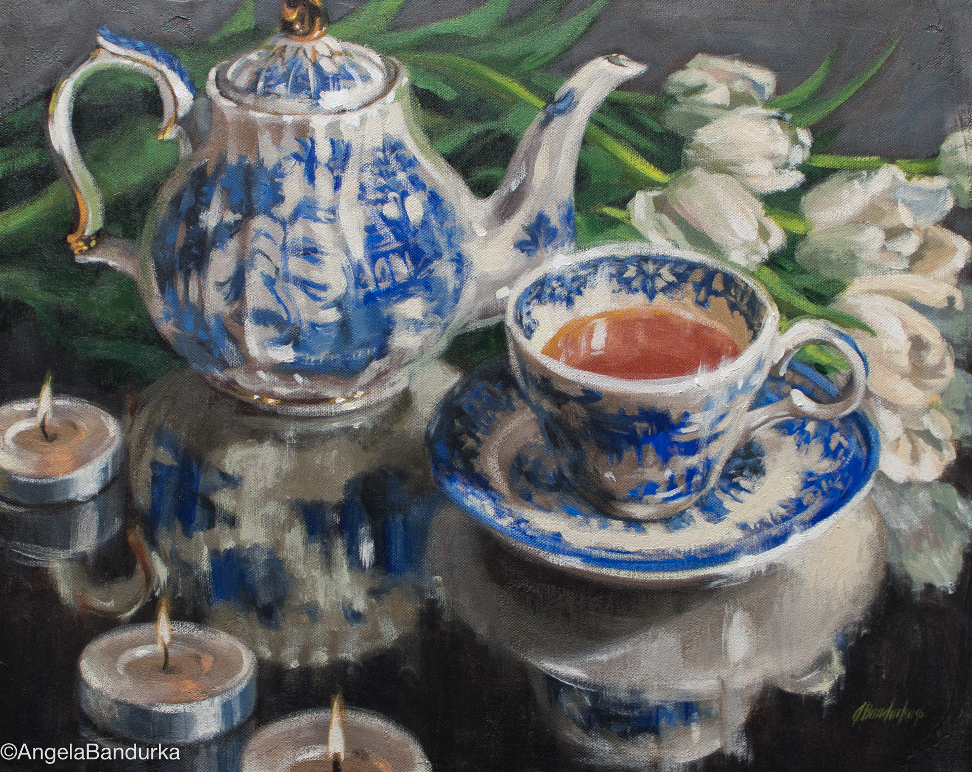 Reflecting Over Tea, 16x20-in., acrylic. Contact Cole Gallery for purchase info.