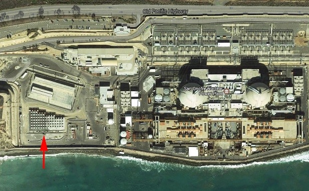 Aerial view of San Onofre's waste-dump-by-the-sea (note red arrow) amidst 8.5 million people.