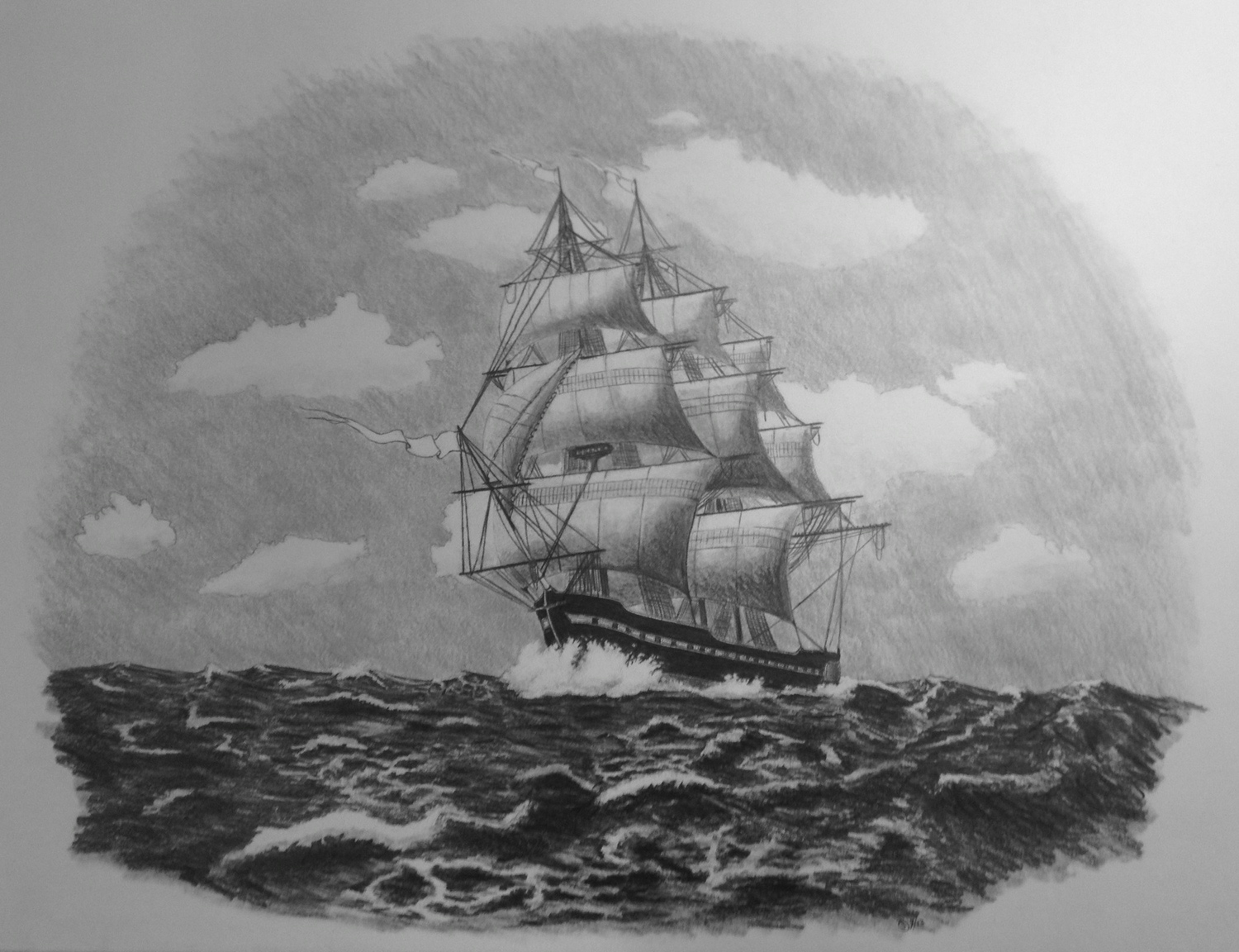 """the mutiny of battleship grace  2013,paper and graphite,16""""x12"""""""