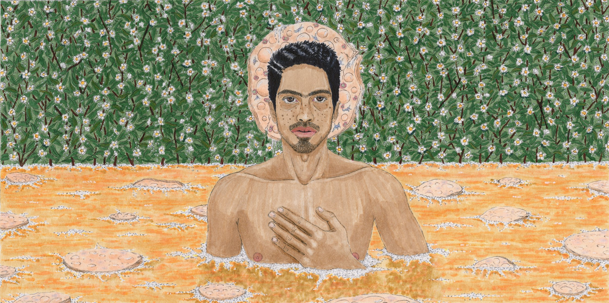 queer patron saint of kombucha, marker, ink, acrylic, paper, 2017