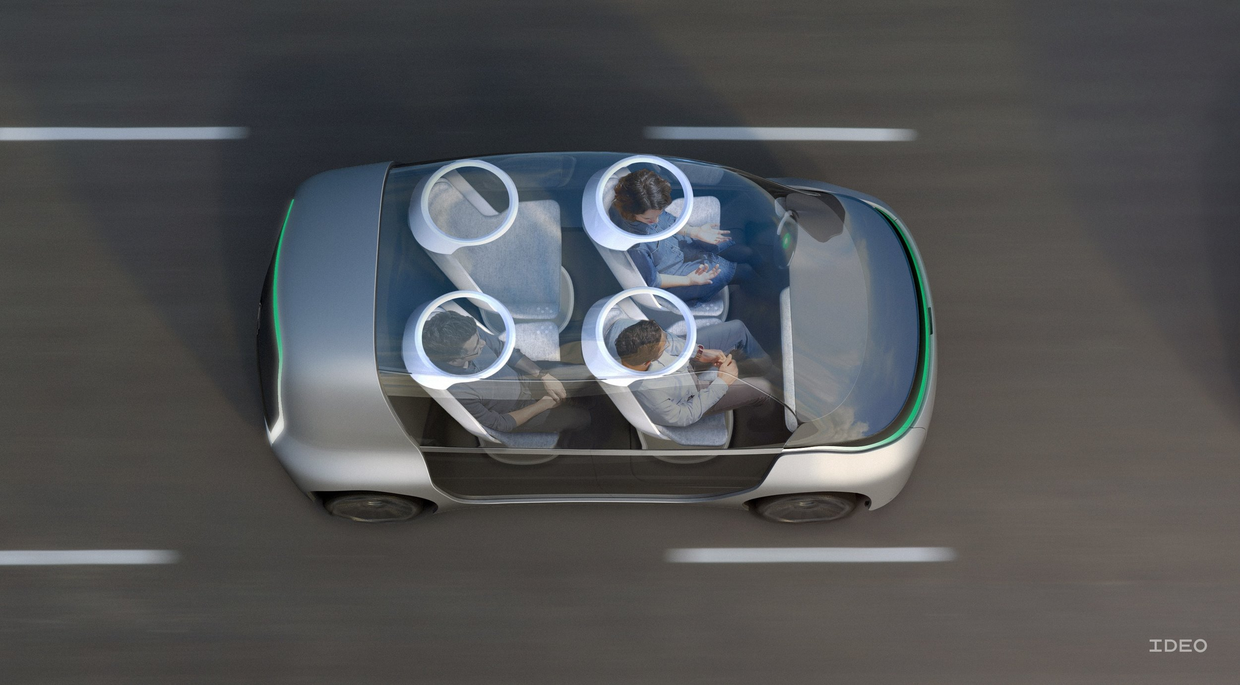 Providing shared vehicle occupants with a choice of being social or relaxing on their own will be key challenge in vehicle design for the next generation of vehicles.