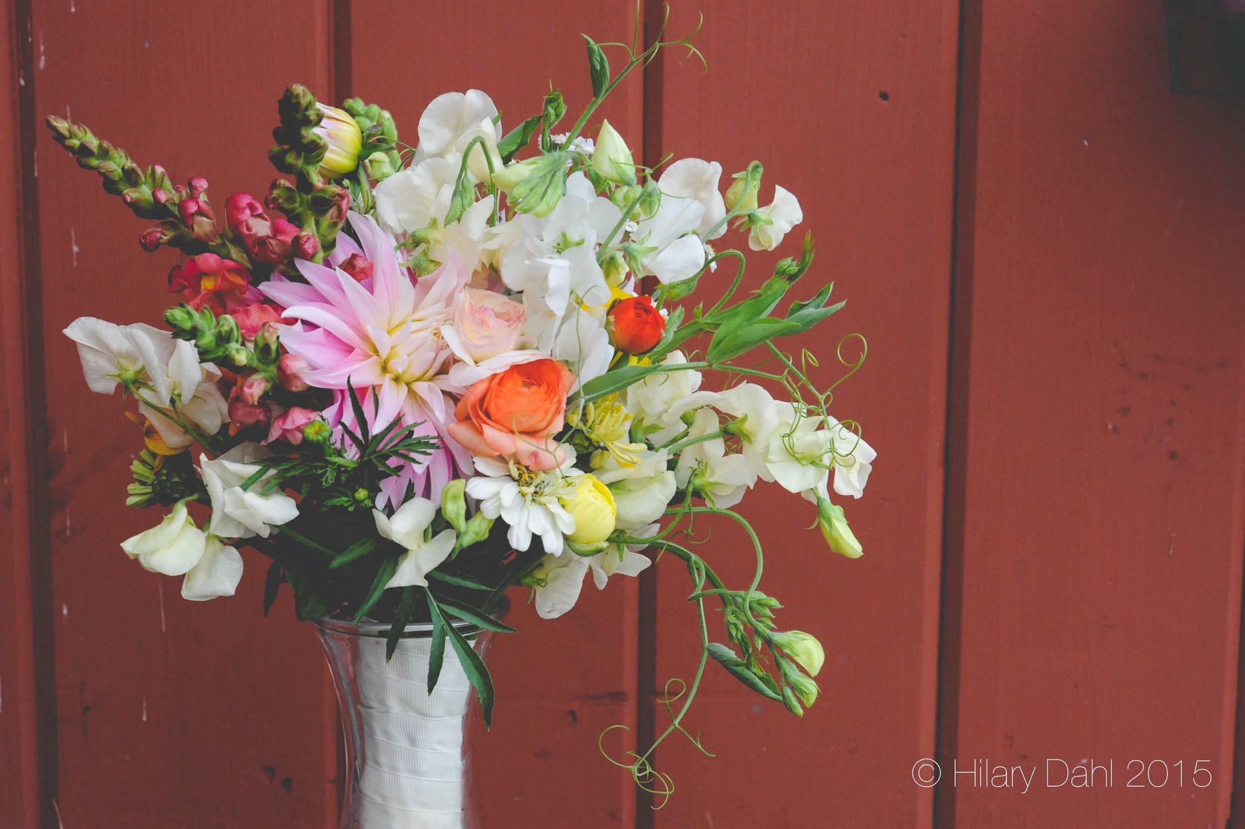 Bouquet including: sweet peas, marigold buds, marigold foliage, snapdragons & zinnias