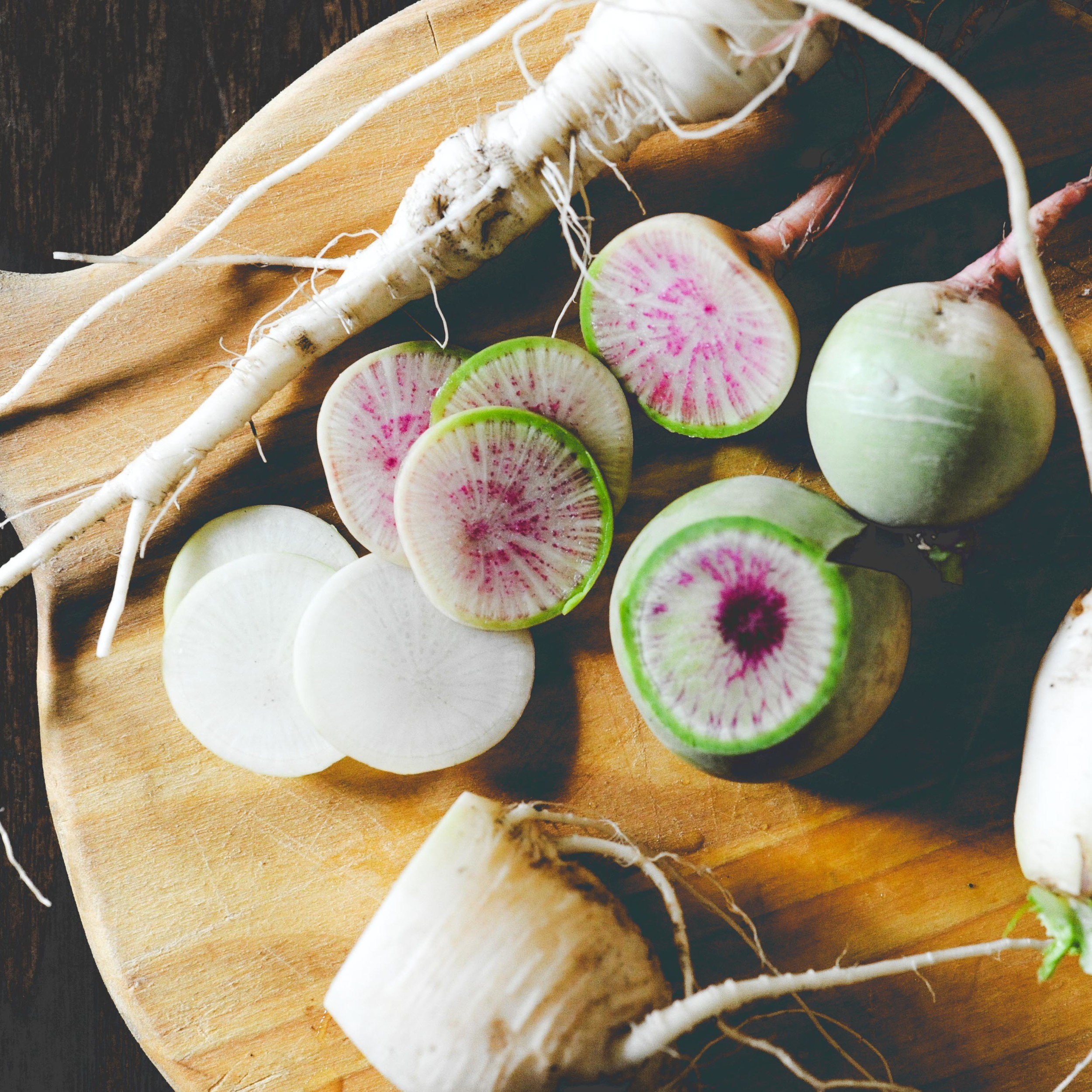 """Radish   French Breakfast, Misato Rose*, French Breakfast, Round Black Spanish, Cherriette  //  Frost tolerant. Misato Rose and Round Black Spanish are """"winter"""" varieties which means they grow slowly and are quick to bolt, therefor preferring fall growing conditions."""