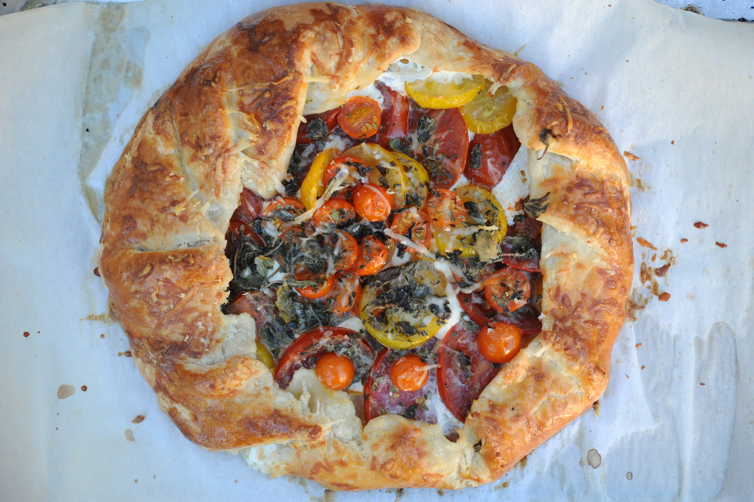 'Golden Rave' tomatoes on a galette