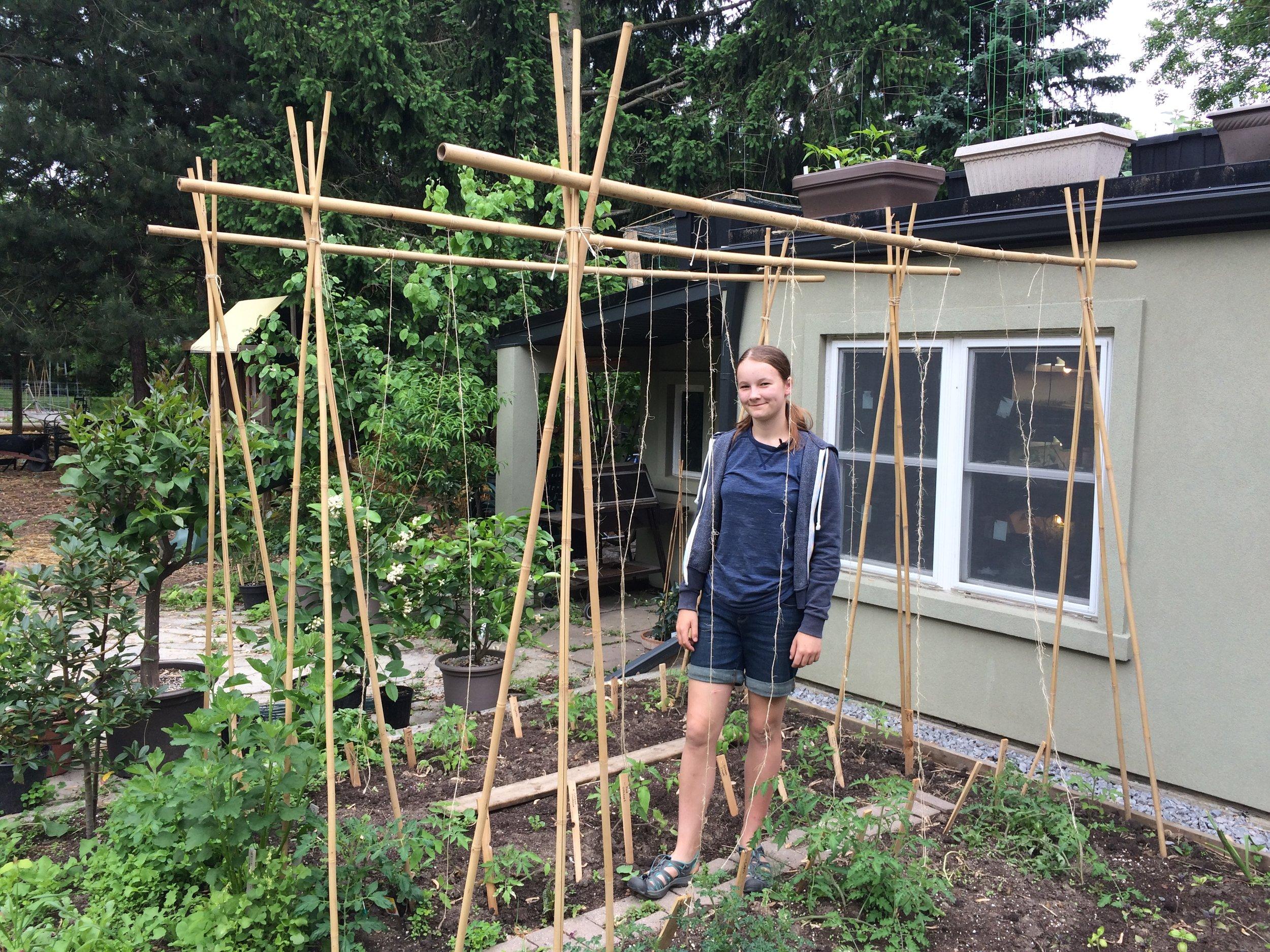 Emma Biggs in her tomato garden