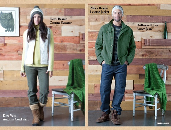 CCO'S BEANIES FEATURED IN CLOTHING LINE PRANA'S FALL 2012 LINE. MADE BY THE WOMEN IN MASOY TOWNSHIP, SOUTH AFRICA.