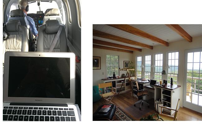 My writing space at 26,000 feet.                         My writing studio overlooking Penobscot Bay.