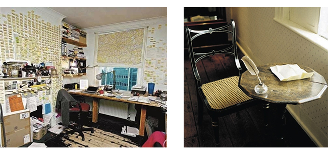 Will Self with sticky notes covering his walls compared to Jane Austin's small writing table,one page at a time.